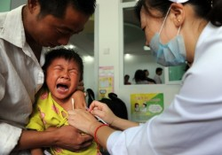 Chinese boy injected with Vaccine